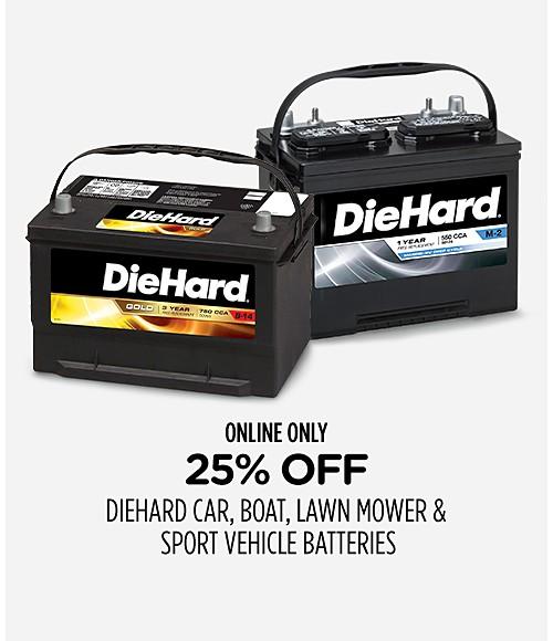 25% off DieHard car, boat, lawn mower & sport vehicle batteries