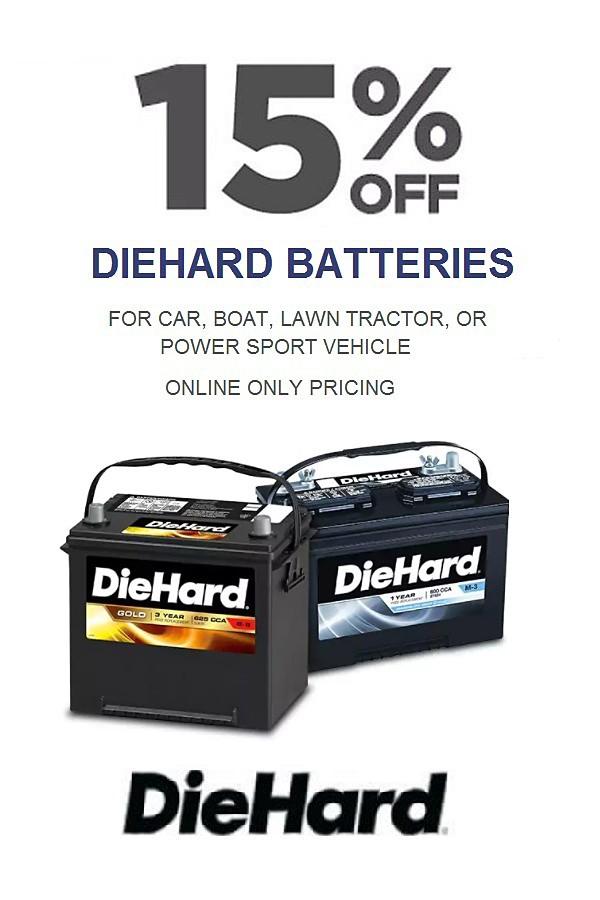 15% off DieHard Batteries. Online Only.