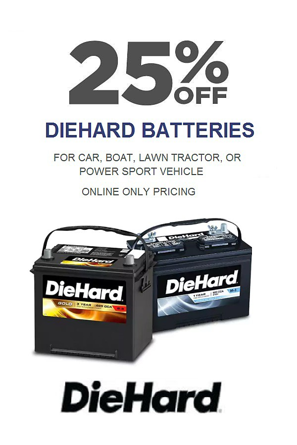 25% off DieHard Batteries. Online Only.