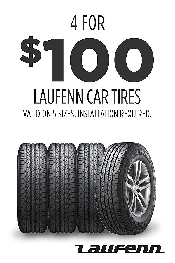 4 for $100 on 5 sizes of Laufenn car tires. Installation required.