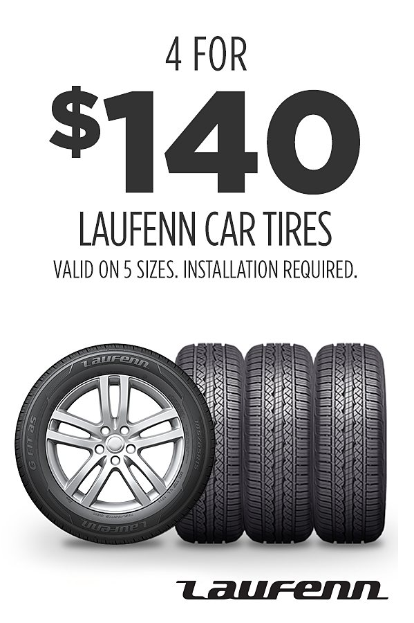 Laufenn tires as low as 4 for $140 (installation required)