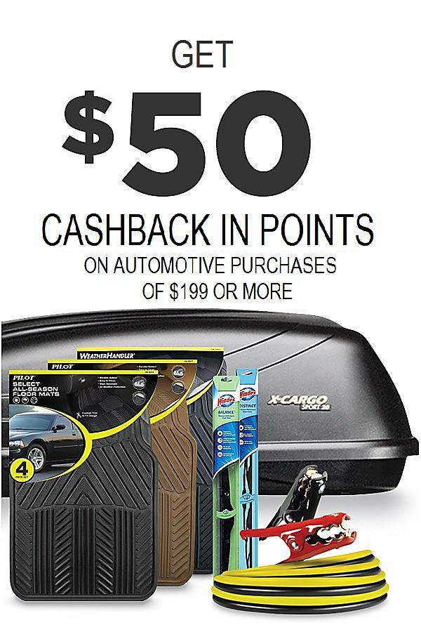 Get $50 cashback in points on Automotive purchases of $199, or more