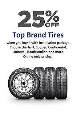 Online Only! 25% off Top Brand Tires (see details)