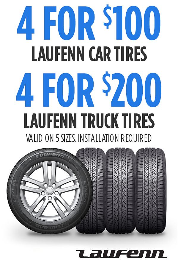 Laufenn tires for your car as low as 4 for $100.  Online only pricing.  Installation required