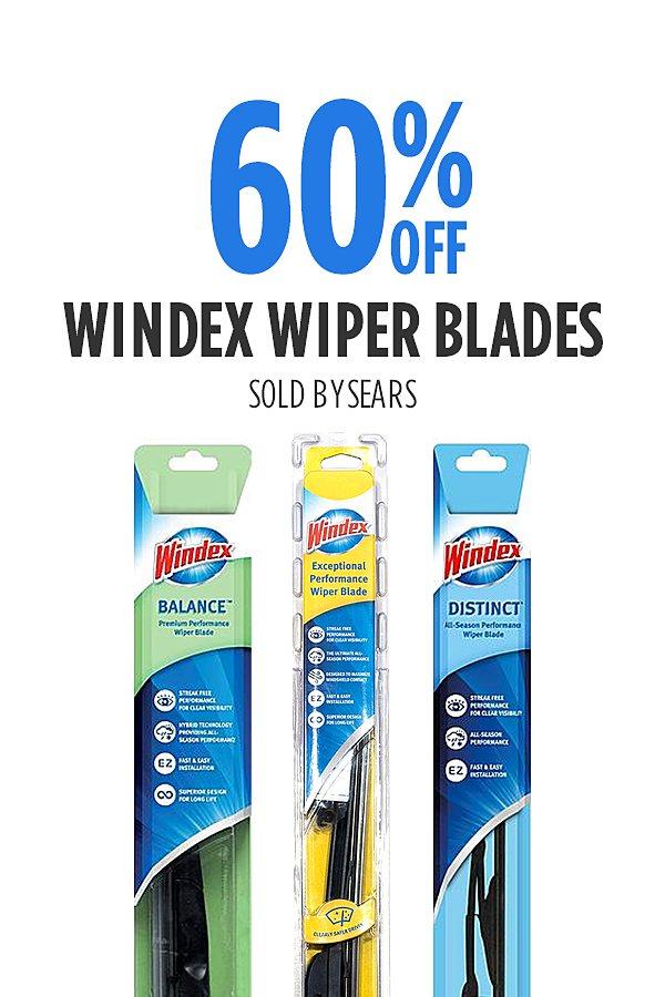 60% off Windex Wiper blades. Only $3.20-$9.20.