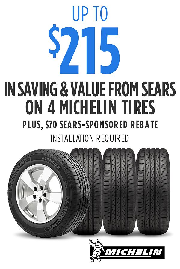 Up to $215 savings & value on 4 Michelin tires. Installation required.