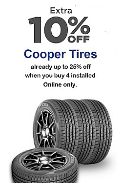Extra 10% off Cooper Tires! Online only!
