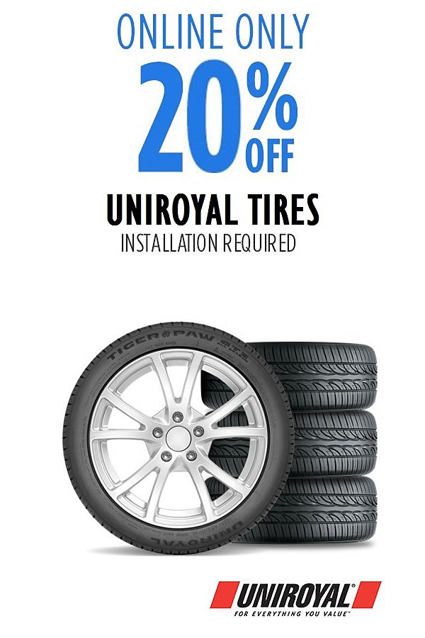 Total 20% off Uniroyal tires. Online only. Installation required.