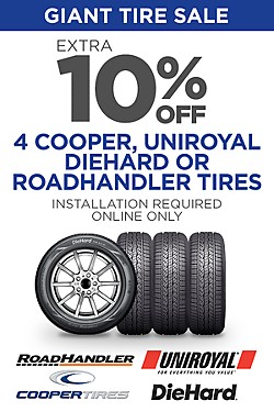 Online Only! Extra 10% off Select Tires. Installation required. Discount reflected in price shown.