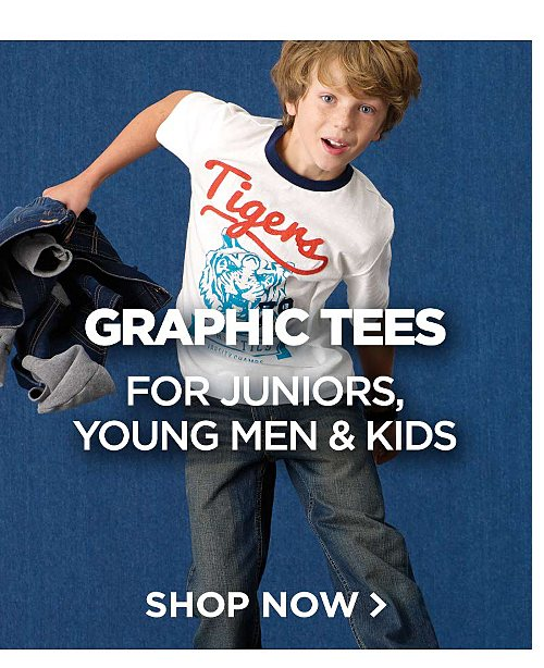 Graphic Tees for Juniors, Young Men & Kids