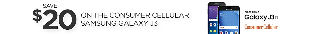 Save $20 on Consumer Cellular Samsung Galaxy J3