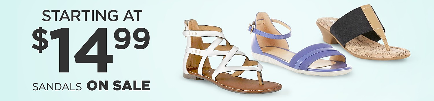 Women's sandals starting at $14.99