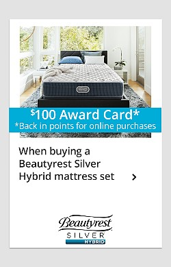 Free box spring, plus $100 award card* (*back in points for online purchases) with purchase of Beautyrest Silver Hybrid mattress set
