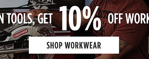 Online Only | Buy $10 In Tools, Get 10% Off Workwear & DieHard Work Boots. Shop Workwear