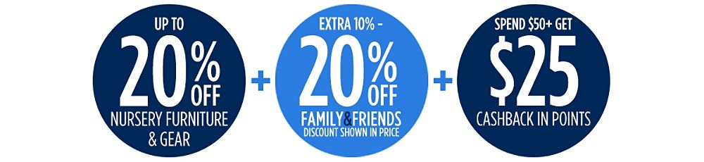Family & Friends! Up to 20% Off Nursery Furniture & Gear + Extra 10-20% off + Spend $50+, get $25 CASHBACK in points