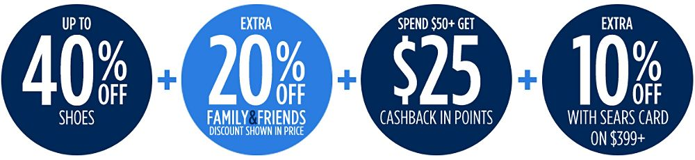 Family & Friends | Extra 40% off + Extra 10% off with your Sears Card + Spend $50+, get $25 CASHBACK in points