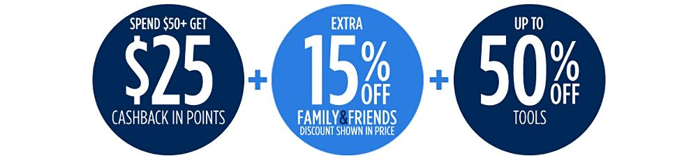 Up to 50% off + Extra 15% off Family & Friends + Spend $50+, get $25 CASHBACK in points