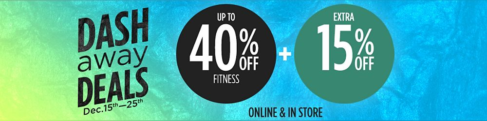 Up to 40% off fitness +  Extra 15% off