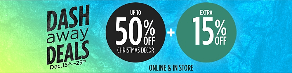Up to 50% off Christmas decor +  Extra 15% off