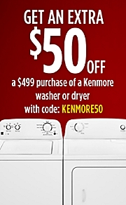 Get $50 off a washer or dryer with code KENMORE50