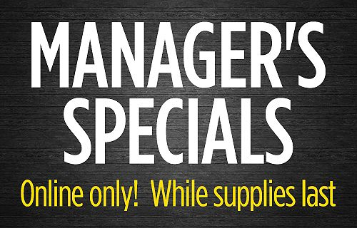 Online only! Manager's Special limited time offer 50% and more off