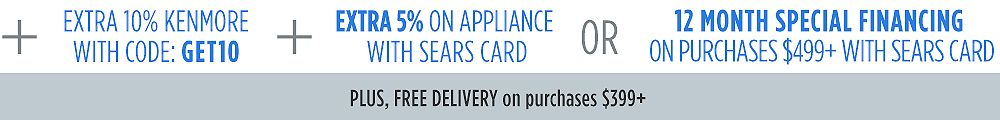 Up to 30% off Appliances + EXTRA 10% off Kenmore w/ code GET10