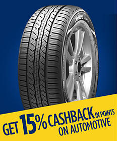 Get 15% CASHBACK in points on automotive
