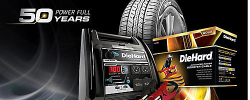 Celebrate DieHard's 50th Anniversary | With an extra 10%–50% savings on tires, chargers, batteries & more