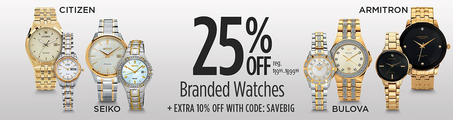 Up to 25% Off Top Brand Watches + Extra 10% Off with Code:  SAVEBIG