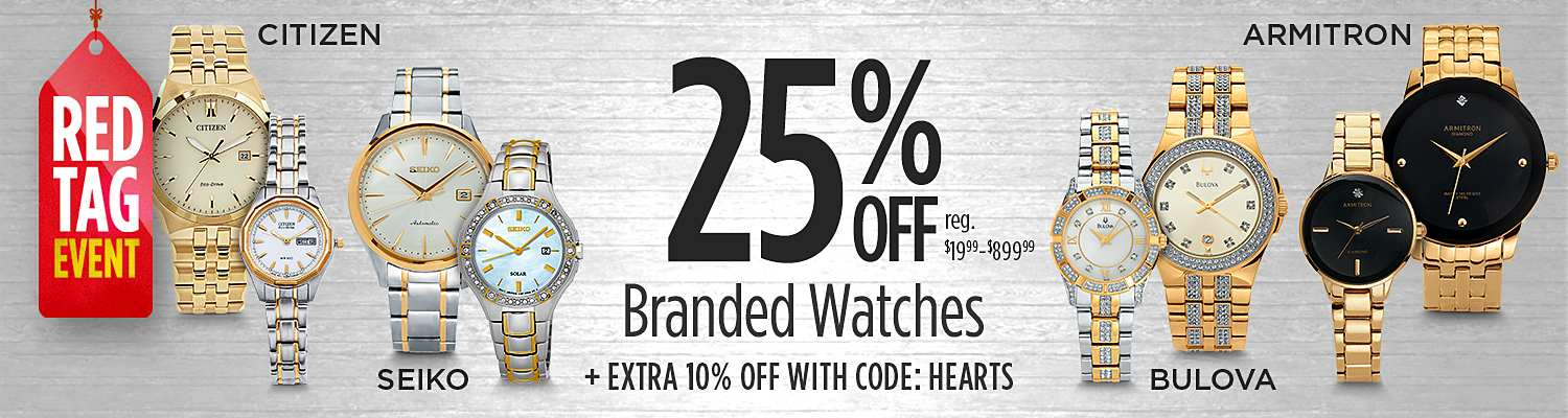 Up to 25% Off Top Brand Watches + Extra 10% Off with Code:  HEARTS