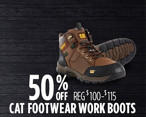 50% off select CAT Footwear work boots