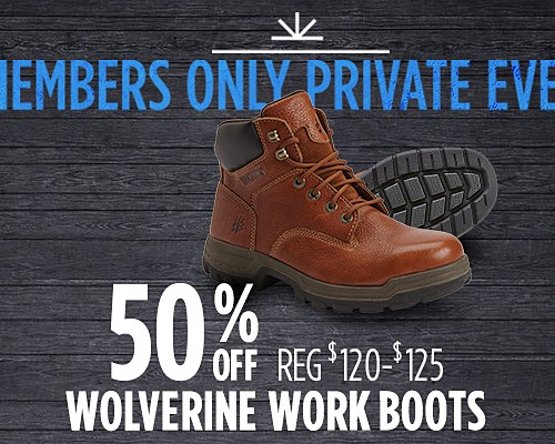 50% off select Wolverine men's work boots
