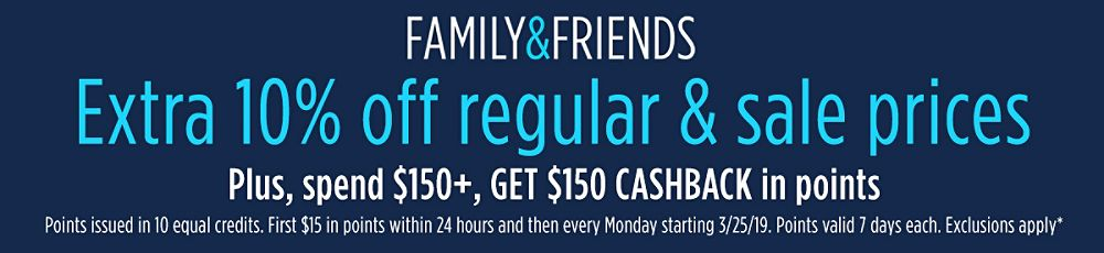 Extra 10% off + Spend $150+, GET $150 CASHBACK in points