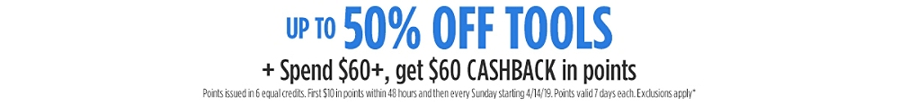 Up to 50% off + Spend $60+, get $60 CASHBACK in points