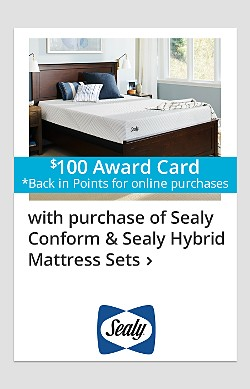 $100 back in points on Sealy Conform & Sealy Hybrid Mattress Sets