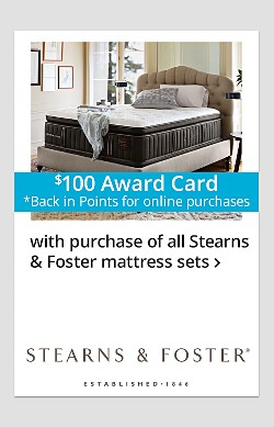$100 Online Back-in-Points with purchase of Stearns & Foster Mattress Sets