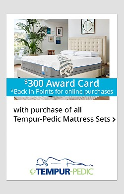 $300 Online Back-in-Points for Tempur-Pedic Mattress Sets