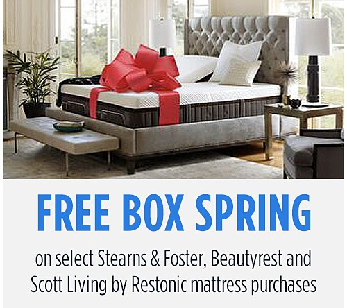 Free Box Spring on select Stearns & Foster, Beautyrest and Scott Living by Restonic mattresses
