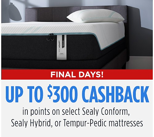Up to $300 CASHBACK in points! On select Sealy Conform, Hybrid or Tempur-Pedic mattresses