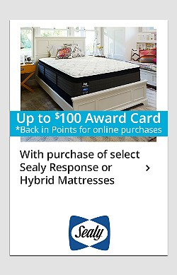 Up to $100 back in points on Sealy Response & Hybrid mattresses