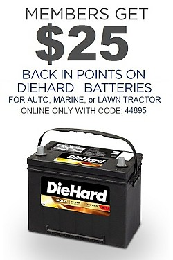 $25 back in points on DieHard Batteries