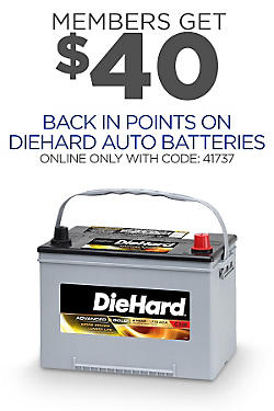 $40 back in points with code on DieHard Auto Batteries