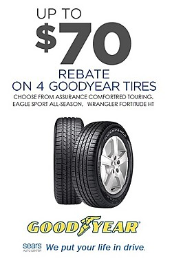 Up to $70 Rebate on 4 featured Goodyear Tires