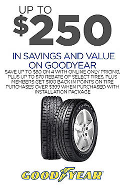 Up to $250 savings & value on 4 Goodyear