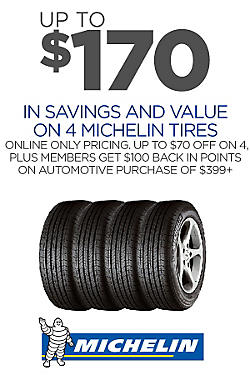 Up to $170 savings & value on 4 Michelin
