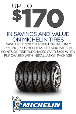 Up to $170 savings & value on 4 Michelin tires