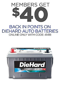 $40 points DieHard Auto Battery