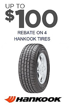 Up to $100 mail in rebate on 4 Hankook tires.