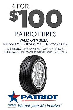 4 for $100 on 3 Patriot sizes (installation required). Discount applied in cart.
