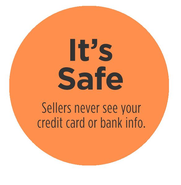 It's Safe | Sellers never see your credit card or bank info.